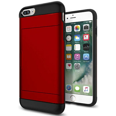 Shockproof Wallet Credit Card Holder Case Cover For Apple iPhone 8 Plus Red