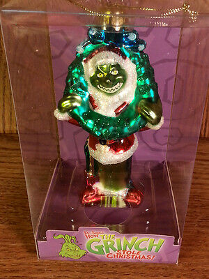 """* Grinch With Wreath * Dr Seuss Blown Glass New Ornament 5"""""""