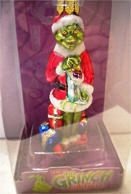 """* GRINCH WITH Stocking * DR SEUSS BLOWN GLASS NEW ORNAMENT 3"""""""