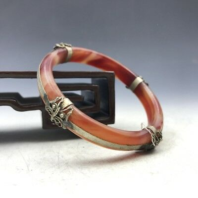 Chinese antiques - agate bracelet - inlaid with Tibetan silver decoration c166