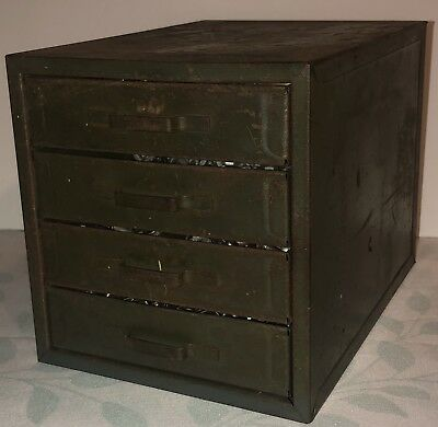 Vintage Industrial Metal Parts Cabinet Tool Box 4 Drawer Chest Electronics Nuts