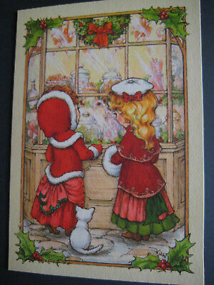 UNUSED vintage greeting card Hallmark CHRISTMAS Girls & Cat at Candy Store