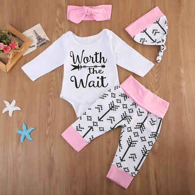 Baby Girls Cotton Long Sleeve Romper Tops+Pants Hat 4PCS Outfits Clothes Set