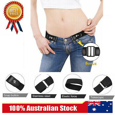 Fashion Women Buckle-free Elastic Invisible Waist Belt for Jeans No Bulge Hassle