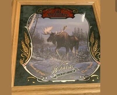 NOS Old Milwaukee Beer Mirror Wildlife Series 2 MOOSE USA Sign Bar Man Cave HTF