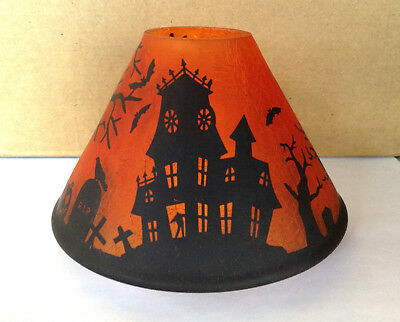 Yankee Candle Orange Haunted House Halloween Shade Topper Witch Graveyard Nwot