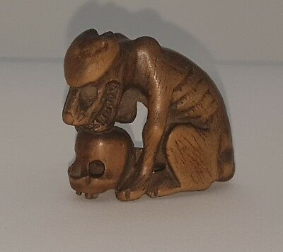 19th century Edo Period Wooden Netsuke Signed Seizan