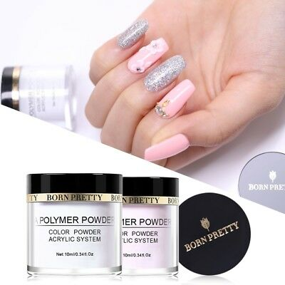 10ml BORN PRETTY Pink Clear White Acrylic Powder Dust for Nail Art Tips UV Gel