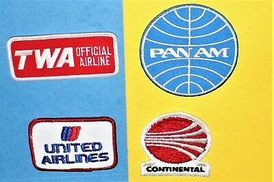 4 Pan Am Twa United Continental Airlines Hat Cap Patch Christmas Gift Set Lot