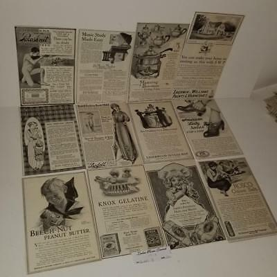 12 lg ads antique Ladies Magazine advertising lot vintage paper clippings 1912 B