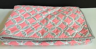 Pottery Barn Kids Soho Toddler Quilt Girls New Coral Gray Pink Baby Nursery