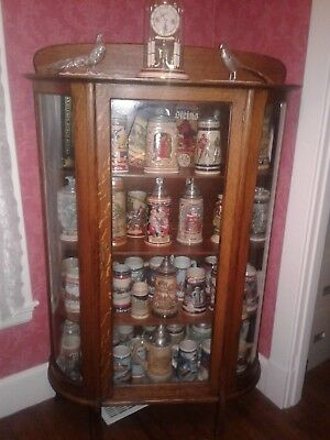 Antique Quarter Sawn and Tiger Oak Curved Glass Curio/China Cabinet