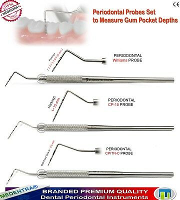 3Pcs Dental Periodontal Probe Measurements Pocket Depth Williams,CP-15, CPITN-C