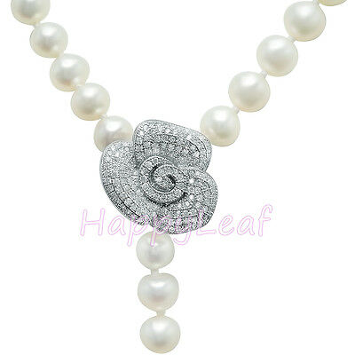 """8-9mm Freshwater Pearl Necklace White w/ CZ Rose Adjustable Connector 18""""-30"""""""