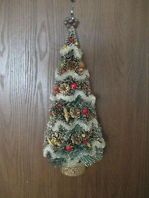 Vintage Bottle Brush Christmas Tree with Fruit, Pinecones, Garland Hanging Rare