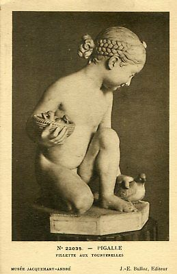 Carte Art Sculpture enfant nu PIGALLE Fillette aux tourterelles