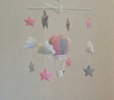 Baby Nursery Mobile- hot air ballon, stars and clouds