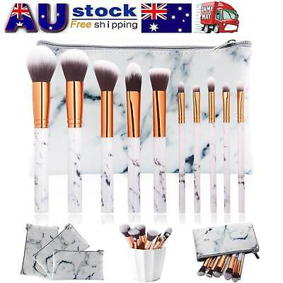 Professional White Marbling Makeup Brush set with Case Foundation Powder Blush