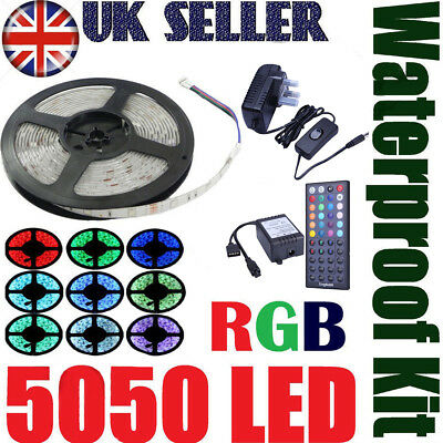 RGB LED 5M 10M Strip Light Tape XMAS Cabinet Kitchen Ceiling WATERPROOF 5050 12V