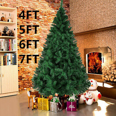 Christmas Xmas Tree 5ft 6ft 7ft with Metal Stand Xmas Bushy Pine Branches