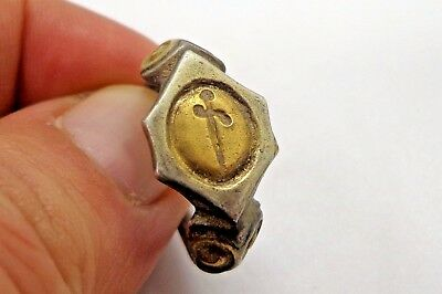 Medieval Gilt Silver Ring with a Sword on the Bezel-C.12th-14th Century AD
