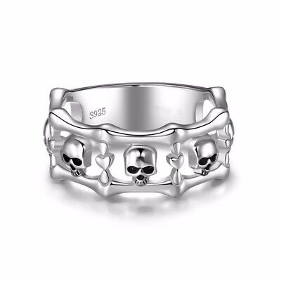 Fashion Silver Plated Skull Punk Jewelry Women Anniversary Band Ring Size 10