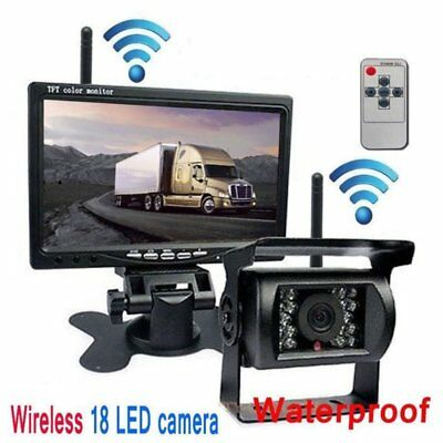 "Wireless 7"" Monitor Reversing Camera Rear View Kit 12V 24V Truck Caravan Boat"
