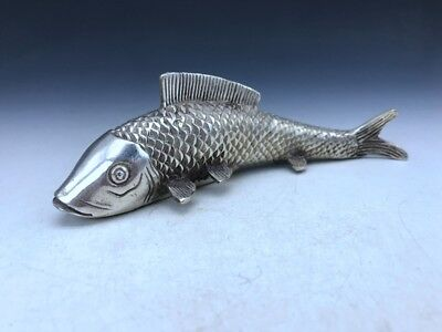 Chinese antique collection Tibetan silver hand-carved fish statue f26