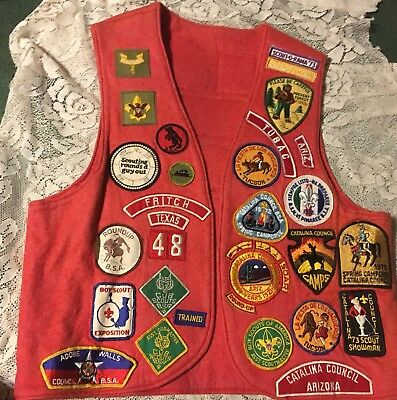 50 Boy Scout Patches Sewn On Orange Vest 1971 & Up Preowned