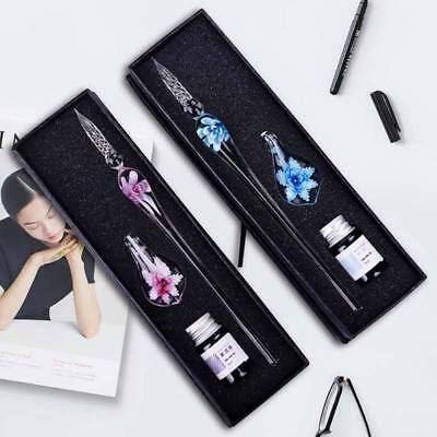 Crystal Glass Dip Signature-Pen Filling Ink Fountain Pen With Gift Box Best Gift