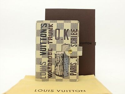 Louis Vuitton Auth Damier AZUR Wardrobe Trunk Agenda fonctionnel PM Diary cover