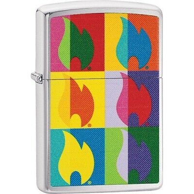 Zippo 29623 Brushed Chrome Classic Abstract Flame Windproof Lighter