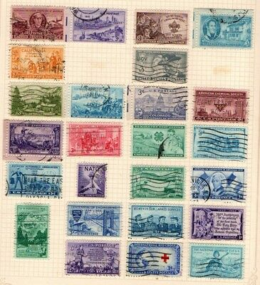 United States USA 1950 1952 Commemorative selection 25 stamps Used