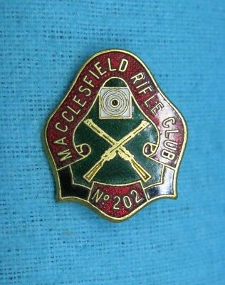 MACCLESFIELD RIFLE CLUB SHOOTERS ENAMEL BADGE No 202