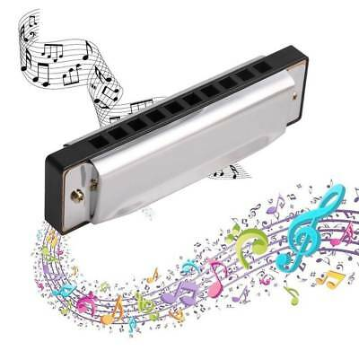 10 Holes Blues Harmonica Key of C Musical Instrument Stainless Steel Mouth