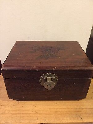 Vintage Chinese Wooden Jewellery Box