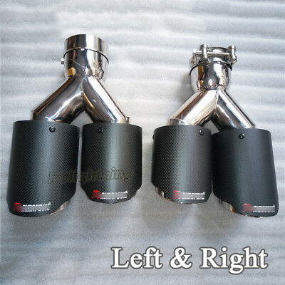 Universal Car Exhaust Tail Pipe Carbon Muffler Tips Left & Right Double Outlet