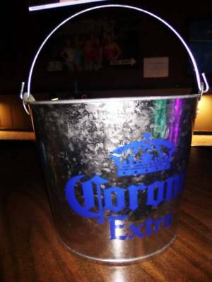 New Corona Extra Silver and Royal Blue Collectible Galvanized Metal Ice Bucket