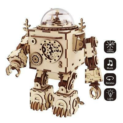 ROBOTIME 3D Puzzle Music Box Wooden Craft Kit Robot Machinarium Toy with Light B