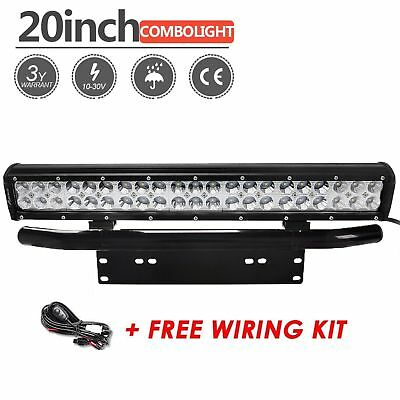 20inch 126W CREE LED Light Bar+23 License Mount Bull Bar Number Plate Frame+Wire