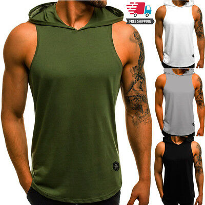 Gym Men Sleeveless Vest Bodybuilding Hooded Tank Top Muscle Clothing T-Shirt UK