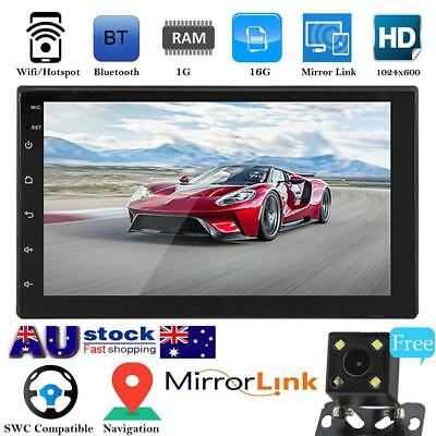 Car 7'' Android 8.1 Double 2 DIN 16G Quad Core GPS Stereo MP3 Player FM + Camera