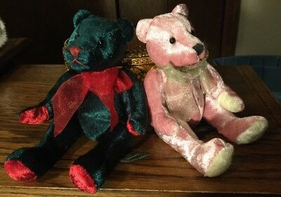 """VINTAGE (2) FANCY ZOO Plush Teddy Bears by """"A & A Co"""" From 1980 Sparkly 7"""" NWT"""