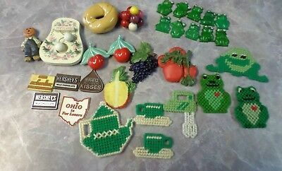 Lot Refrigerator Magnets Vintage Ohio Frogs Fruit Hershey's Handmade 32