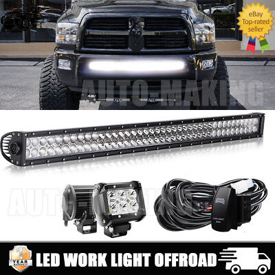 "42inch Curved Led Light bar +2X 4"" CREE Work Pods Off road SUV Jeep 4WD Truck 40"
