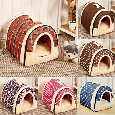 Dog Pet Cat Bed House Portable Puppy Warm Kennel Cave Nest Pad Cushion Washable