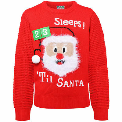 Boys Girls Christmas Jumper 3D Countdown Kids Santa Knitted Xmas Sweater Novelty