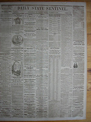 Daily State Sentinel (Indianapolis IN), 1861 Civil War Newspaper. Abolitionism