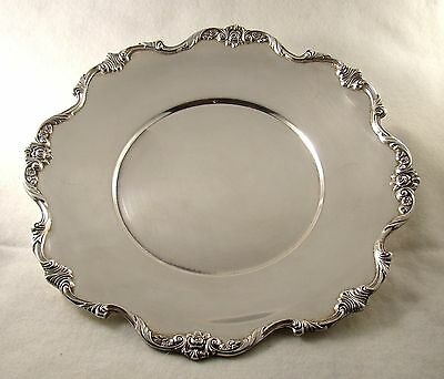 "Vintage Superb 11"" Silver Plate Wallace Sandwich Plate ""Royal Rose"" # 9810"