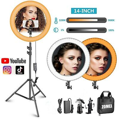 "14"" Studio LED Photo Video Selfie Ring Light Dimmable Flash Lamp Kit+190cm Stand"